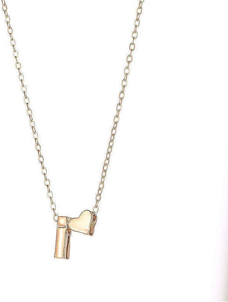 Mengku Moda Corazón pequeño Dainty Collar Inicial Oro Plata Color Letra Nombre Gargantilla Collar para Mujeres Colgante Joyería Regalo