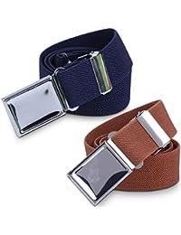 Kids Toddler Elastic Magnetic Belt - Adjustable Magnetic Buckle Stretch Belts for Boys Girls by WELROG (Navy blue/Brown)