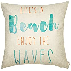 "Fjfz Life's a Beach Enjoy the Waves Funny Motivational Sign Inspirational Quote Cotton Linen Home Decorative Throw Pillow Case Cushion Cover with Words for Sofa Couch, Aqua Turquoise Mint, 18"" x 18"""