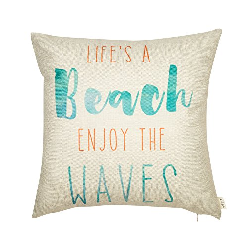 Beach Decor Throw Pillow - Fjfz Life's a Beach Enjoy the Waves Funny Motivational Sign Inspirational Quote Cotton Linen Home Decorative Throw Pillow Case Cushion Cover with Words for Sofa Couch, Aqua Turquoise Mint, 18