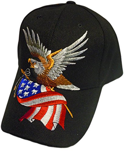 - Patriotic Baseball Cap/Hat American Flag Bald Eagle Hat Red White and Blue (One Size) (Black)