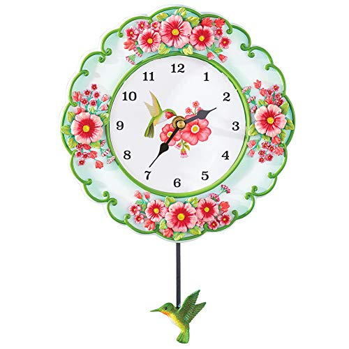 (Colorful Hummingbird and Garden Hand-Painted Hanging Wall Clock with Swinging Pendulum - Floral Accent Home Décor for Any Room)