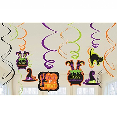 Halloween Witch's Brew Foil Swirl Decoration Value Pack- 12 Pack ()