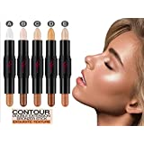 Cosmetics Cream Contour and Highlighting Makeup Kit By Rejawece - Contouring Foundation / Concealer Sticks - Double Extension Contour Sticks with 10 Colors (a set of 5 Sticks)
