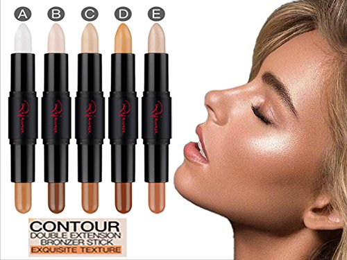 Cosmetics Cream Contour and Highlighting Makeup Kit By Rejawece - Contouring Foundation makeup / Concealer Stick - Double Extension Contour Stick with 10 Colors (a set of 5 Sticks)