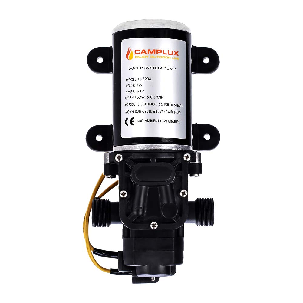 Camplux 12V Water Pump 65PSI DC 1.6GPM 6LPM Diaphragm for Caravan RV Marine Fishing Boat by CAMPLUX ENJOY OUTDOOR LIFE
