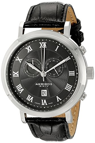 Akribos XXIV Men's AK591BK Swiss Chronograph Leather Strap Watch
