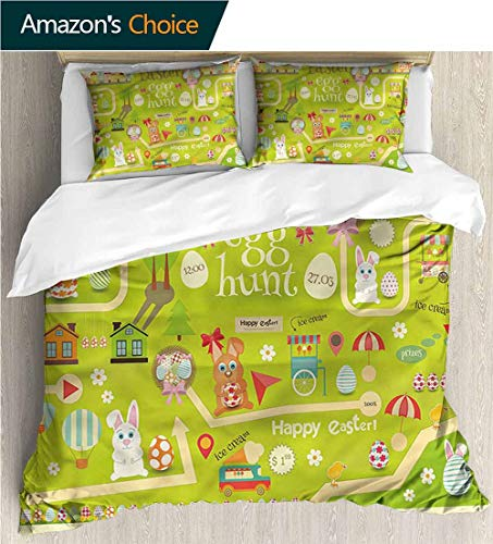 VROSELV-HOME Full Queen Duvet Cover Sets,Box Stitched,Soft,Breathable,Hypoallergenic,Fade Resistant Bedding Set for Teen 3Pcs-Easter Egg Hunt with Bunny (90