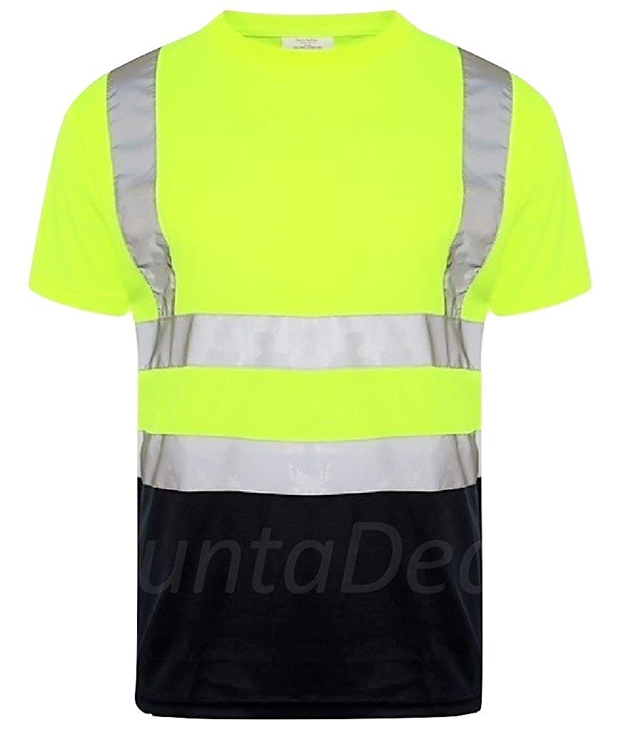 HuntaDeal Hi Viz VIS High Visibility T-Shirt Crew Neck Reflective Tape Safety Security Work Short Sleeve Tee Polo Breathable Lightweight Double Tape Workwear Top Plus Size Big Size Large |EN ISO 20471