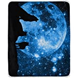 Blue Starry Sky Big Moon Night Wolf Polyester Fabric Throw Blanket for Bed 50 x 60 inch Kids Baby Gi