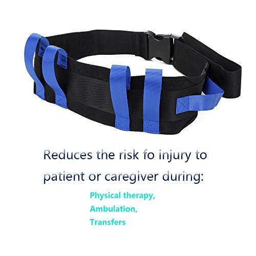 Transfer Gait Belt Patient Walking Safety Lift Sling Medical Slide Board Wheelchair & Bed Transport Physical Therapy Nursing Assistant Gate Belts for Seniors, Bariatric, Elderly (Blue) by NEPPT (Image #4)