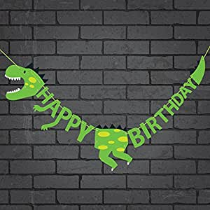 Dinosaur Happy Birthday Banner Party Supplies Decorations - Dino Jungle Jurassic Garland (Green)