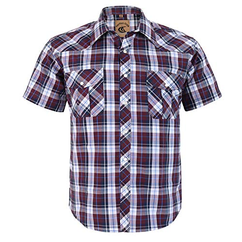 Coevals Club Men's Button Down Plaid Short Sleeve Work Casual Shirt (Brown Plaid #25, -