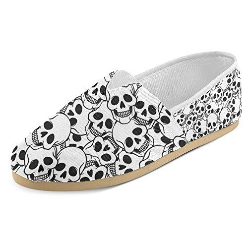 Mocassini Donna Interestprint Classico Casual Tela Slip On Fashion Scarpe Sneakers Mary Jane Flat Cool Skull