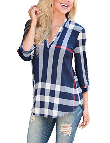 YIHUAN Women's V Neck Latticed Print Causal Blouse shirt,Blue,XXX-Large