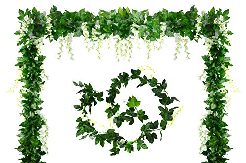 Aobear 4Pcs 28.8 Ft Artificial Flower Vine Silk Wisteria Garland Hanging Rattan with Ivy Leaf Hanging Plants Vines Faux Greenery Fake Green Leaf Garland for Wedding Kitchen Home Party Decor (White)