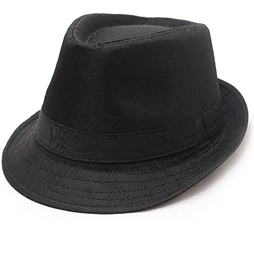 Hooyi Baby Boy Girl Fedora Jazz Hat Plaid Pot Cap (Black)]()