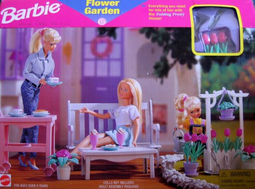 Barbie Flower Garden Playset - Folding Pretty House (1997 Arcotoys, (Barbie Garden)