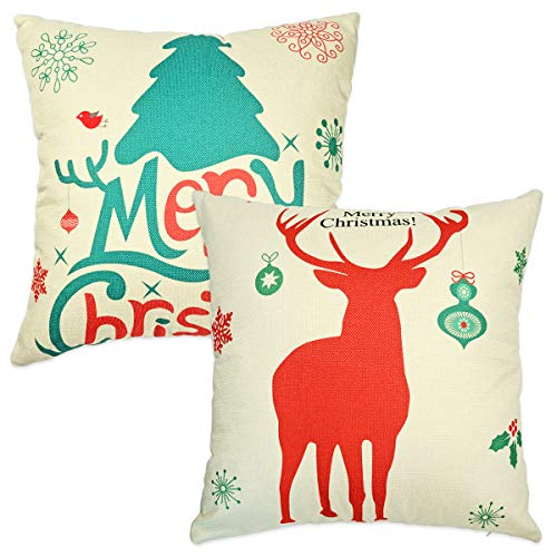 Vileafy Christmas Cushion Cover, Flaxen Cotton Linen Throw Pillow Covers 18x18 inches, Set of 2, Suitable Sofa, Bedroom, Car, Couch, Office (Elk)
