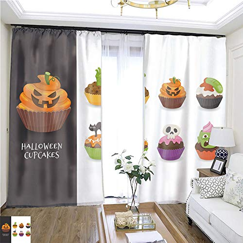 Custom Curtain Cute Halloween Cupcake Collection W96 x L288 Create Warmth in Winter Highprecision Curtains for bedrooms Living Rooms Kitchens etc. ()