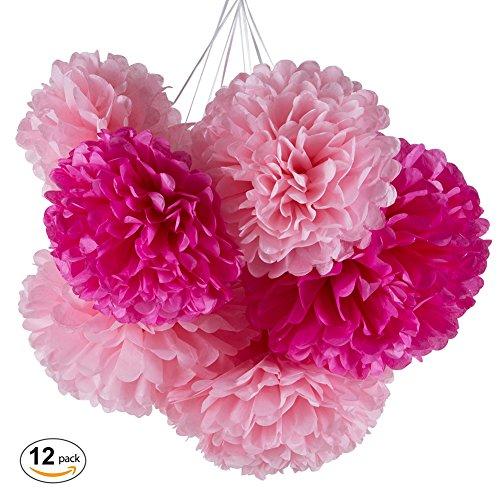 [MOWO Tissue Paper Pom Poms Flower,12pc Paper Flower DIY Wedding Engagement BabyShower Birthday Garden Party Decor,12'' 10''] (Decoration Ideas Party)
