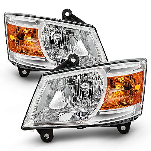 ACANII - For 2008 2009 2010 Dodge Grand Caravan Chrome Housing Headlights Headlamps Assembly Driver & Passenger Side