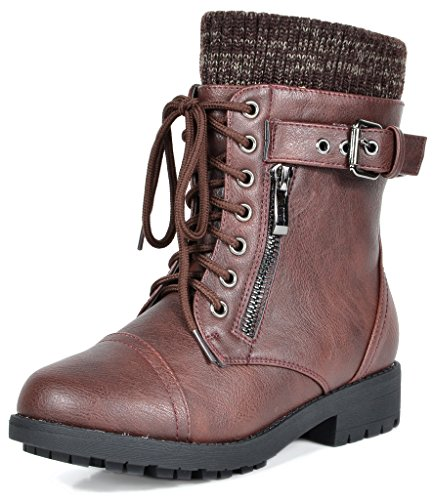 DREAM PAIRS Little Kid Amazon-K Burgundy Girl's Mid Calf Combat Boots Size...