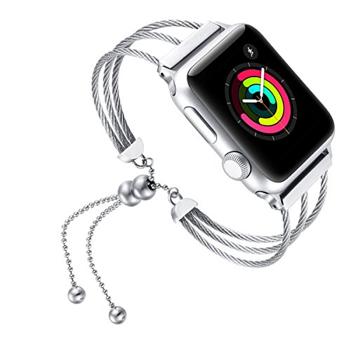 fastgo Compatible with Apple Watch Band 38mm Womens, 2018 July Newest Jewelry Fashion Glitter Design for Iwatch Bands Bangle Cuff with Silver Pendant (Silver-38mm)