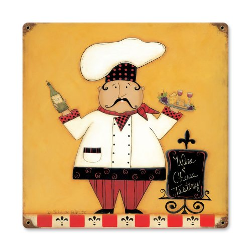 Past Time Signs Wine and Cheese Novelty Metal Sign