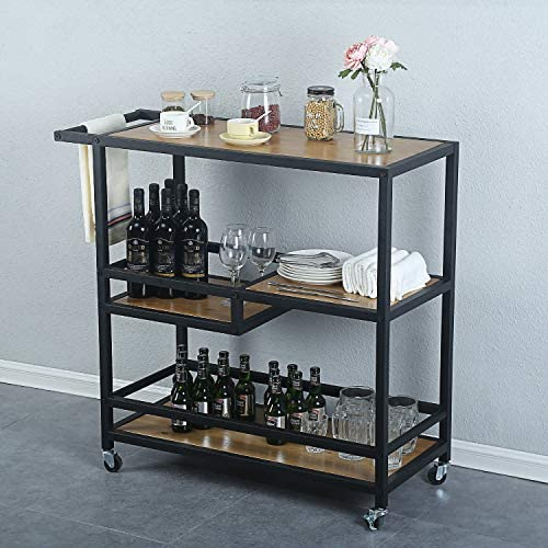 MBQQ Industrial Modern Rustic Rolling Bar and Serving Cart,3-Tiered Wood Metal Kitchen Bar Cart Island