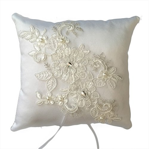 Baby Pillow Beads (Lace Pearl Embroided Satin Flower Wedding Ring Bearer Pillow 7.8 Inch x 7.8 Inch (Bead Lace))