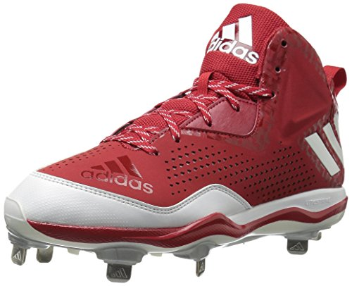adidas Performance Herren PowerAlley 4 Mid Baseballschuh Power Rot / Weiß / Silber Metallic