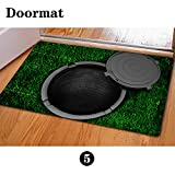 chaqlin Christmas Manhole Cover Entrance Door Mat, 40x60cm Mouse Pad Non-Slip Welcome Front Rug, Doormat for Entry, Patio