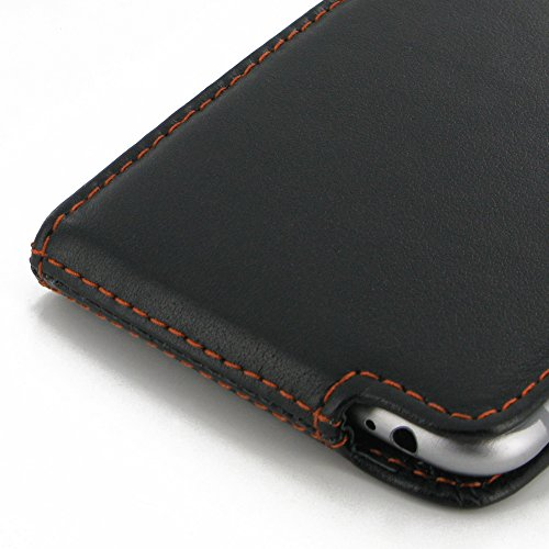 "Apple iPhone 6 (4.7"") Deluxe Leather Case / Cover Protective Phone Case / Cover (Handmade Genuine Leather) - Flip Case Cover with Belt Clip (Black/Orange Stitchings) by Pdair"