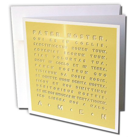 Crucifix Square Gold (3dRose Russ Billington Designs - The Lords Prayer- Gold Effect Latin Text with Crucifix Highlight - 1 Greeting Card with envelope (gc_220779_5))