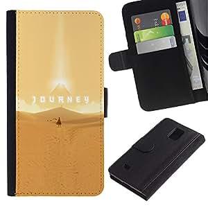 LECELL--Cuero de la tarjeta la carpeta del tirón Smartphone Slots Protección Holder For Samsung Galaxy Note 4 IV -- Viaje épico Desierto --