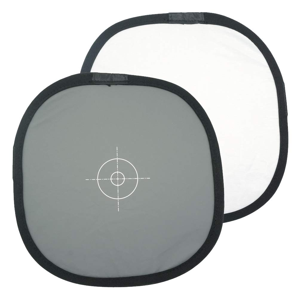 Foto&Tech Portable 12''/30cm 18% Gray Card White Balance Disc Gray Panel & Neutral White Double-Sided Collapsible Reference Reflector Focusing Board for Camera Photography+Nylon Bag+Organizer Cable Tie