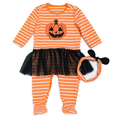Beide Toddler Baby Girls girls Halloween Pumpkin Footies 2 Piece Pajamas Set(girl,3-6m)