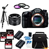 Sony SLTA99V Alpha SLT-A99V A99 SLT-A99 Full-Frame 24.3 MP SLR Digital Camera with 3-Inch LED - Sony SAL 50mm f 1.4 Full Frame Lens BUNDLE with 32GB High Speed Card (Qty 3),Deluxe Hoya Filter Kit, Spare Batteries (Qty 2), Full Sized Tripod + More!