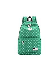 Women's Korean High School Students Schoolbag Shoulder Bag College Shoulders Casual Canvas Backpack (green)