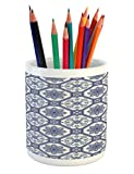 Lunarable Arabian Pencil Pen Holder, Arabesque Floral Oriental Persian Afghan Medieval Baroque Tiles Shapes Tribal Artsy, Printed Ceramic Pencil Pen Holder for Desk Office Accessory, Blue White