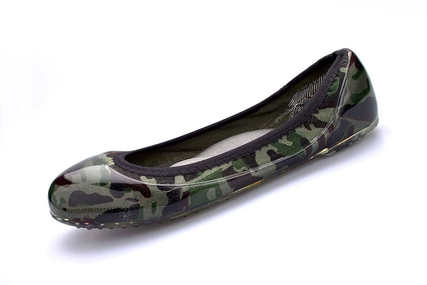 Ja-vie Comfy Jelly Knit Flats, Green Camouflage