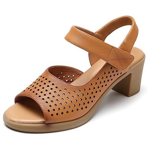 WANGXIAOLIN 中年女性の靴の夏のサンダル魚の口の靴中空のサンダル ( 色 : ブラック , サイズ さいず : 36 )