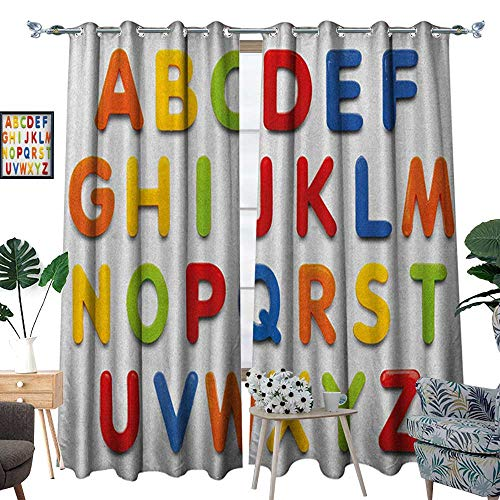 Warm Family Letters Thermal Insulating Blackout Curtain Multicolored Collection of Alphabet Letters Education Image Capital Symbols Writing Patterned Drape for Glass Door W120 x L96 Multicolor