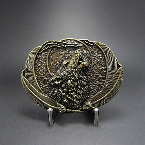 Fibbia Cintura per Cinghia Lupo & piume indiano Vintage AMT CUSTOM 23/WT111AB