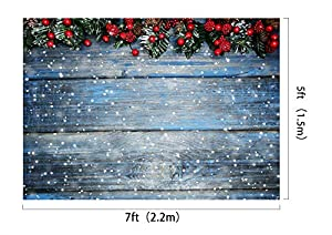 Kate 7×5ft Christmas Backdrops Fir Tree with Cones Xmas Background Snow on Wooden Blue Board Christmas Photo Backdrops Seamless Photo Studio Booth Props for Photography Seamless (Tamaño: 7×5ft)