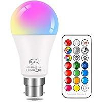 Kleurwissel gloeilamp B22 10 W dimbaar, RGBW LED-lamp verlichting met 21 sleutels afstandsbediening, dubbele functie, 12…