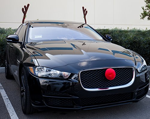 car reindeer antlers nose window roof top front grille rudolf reindeer jingle bell. Black Bedroom Furniture Sets. Home Design Ideas