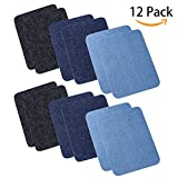 "Arts & Crafts : Iron On Denim Patches For Clothing Jeans 12 PCS, 3 Colors (4.9"" X 3.7"")"