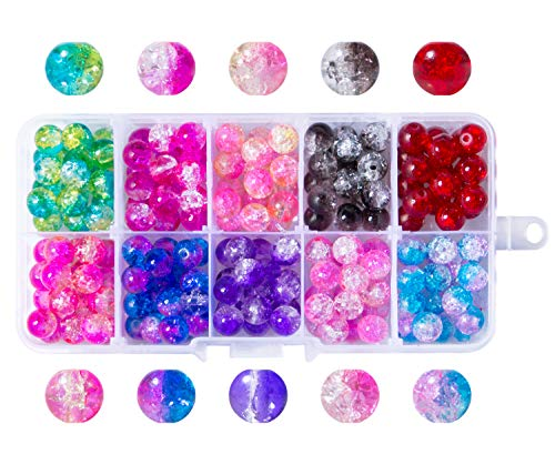 Besteek 200 Pack Crackle Glass Beads 8mm Colorful Assorted Round Handcrafted Crackle Beads for Bracelets Jewelry Making